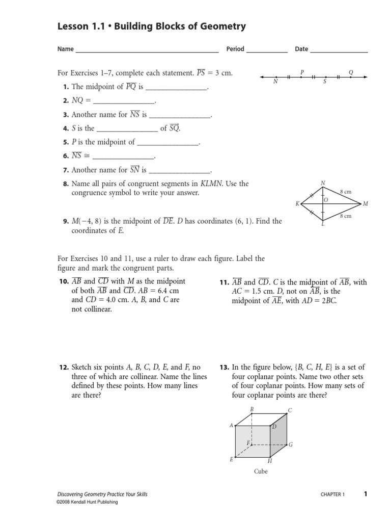 Discovering Geometry - Ch. 1 Practice | Triangle | Circle