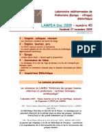LAMPEA-Doc 2009 - numéro 40 / Vendredi 27 novembre 2009