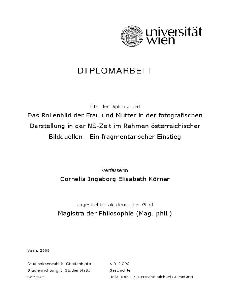 Körner Cornelia Ingeborg Elisabeth_Rollenbild Der Frau Und Mutter NS-Zeit  Anhand Österreichischer Bildquellen_Wien_2008