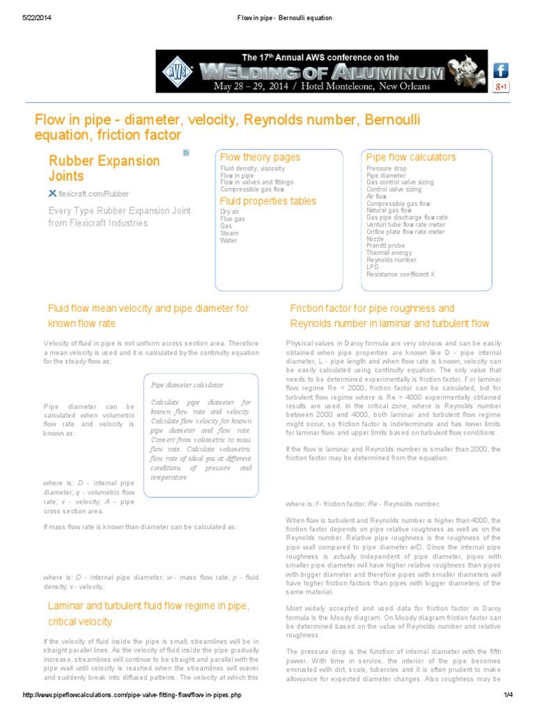 Flow in pipe - diameter, velocity, Reynolds number