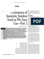 Performance of Austenitic Stainless Steel in Wet Sour Gas Part 2