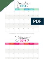 Free Printable 2014 Monthly Calendar