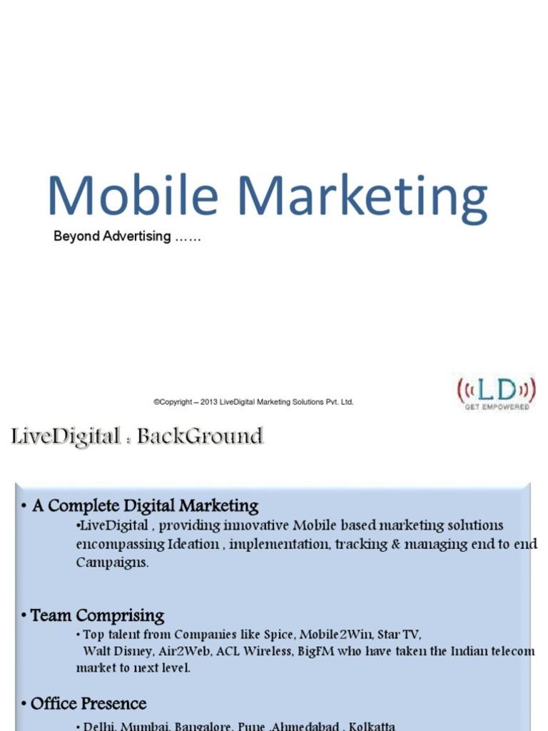 Mobile Marketing Livedigital Mobile Marketing Mobile Phones