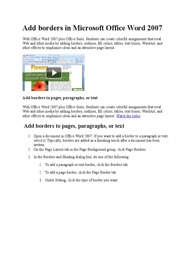 Add Borders in Microsoft Office Word 2007   Microsoft Word