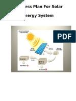Business Plan for Solar Energy System