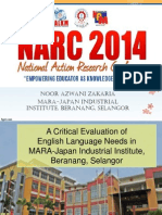 A Critical Evaluation of English Language Needs in MARA-Japan Industrial Institute,Beranang, Selangor