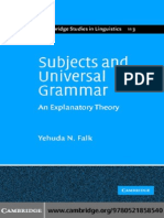 Subjects and Universal Grammar an Explanatory Theory Cambridge Studies in Linguistics