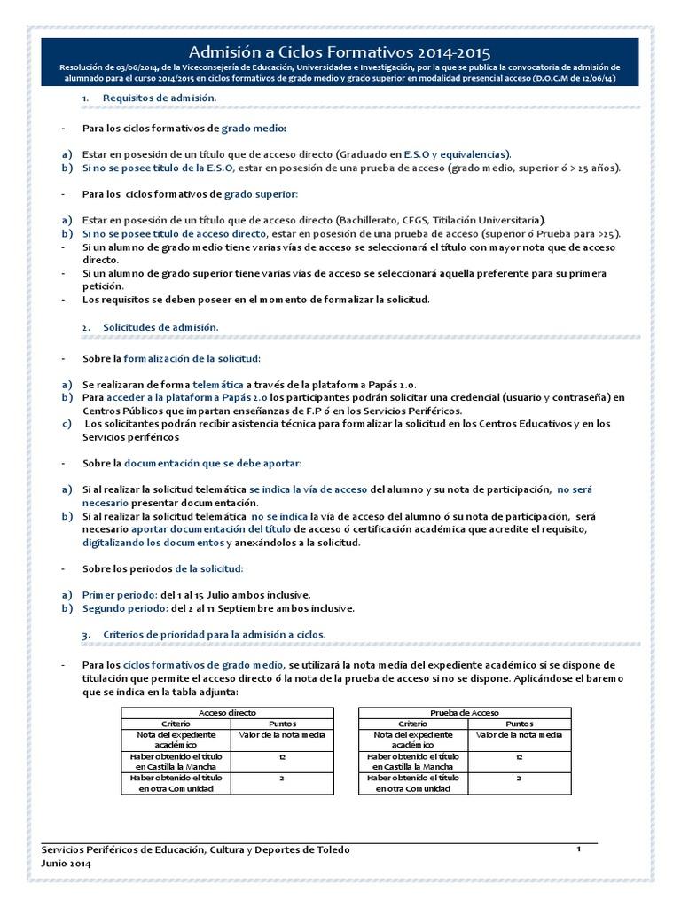 Resumen Admisión Fp Presencial 2014 15