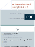 Enseigner Le Vocabulaire ŕ l'École,2011