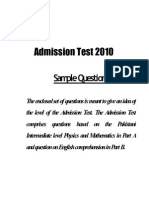 University of Lahore UOL Entry Test Sample Paper