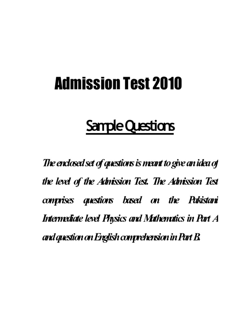 University of Lahore UOL Entry Test Sample Paper | Common