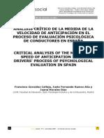 Analisis Critico de La Medida de La Velocidad de Anticipacion en El Proceso de Evaluacion Psicologica
