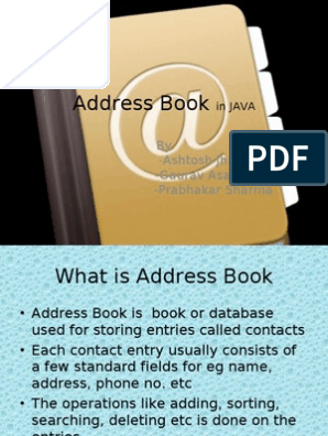 Address Book in JAVA | Java Virtual Machine | Java (Programming
