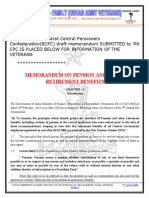 Memorandum on Pension and Other Retirement Benefits