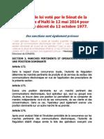 Digicel et le texte de loi voté par le Sénat de la République d'Haïti le 12 mai 2014 pour abroger le décret du 12 octobre 1977.