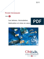 G11 Les Bétons. Formulation, Fabrication Et Mise en Oeuvre