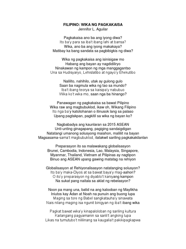 wika ng pagkakaisa Ang wika ay salamin ng bayan at siyang bumibigkis patungo sa pagkakaisa ng bawat mamamayan iba't-ibang wika sa bawat lugar, komunidad, at bansa mahalaga ang wika ng isang bansa katulad ng wikang filipino ang wikang filipino ay sumisimbolo sa kultura ng mga pilipino kung sino.