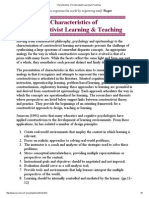 Characteristics of Constructivist Learning & Teaching