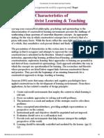 Characteristics of Constructivist Learning & Teaching