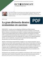 La Gran Divisoria Dentro de Las Economías en Ascenso by Dani Rodrik - Project Syndicate