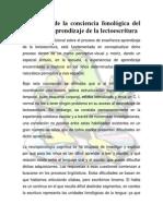desarrollo de la conciencia fonolgica del lenguaje y aprendizaje de la lectoescritura