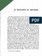 DAIN (a.). Liste Des Manuscrits de Thucydide