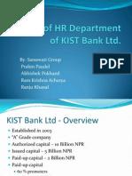 Study of HR Department of KIST Bank Ltd