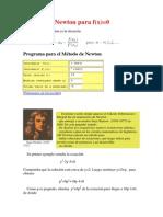 Método de Newton Para f
