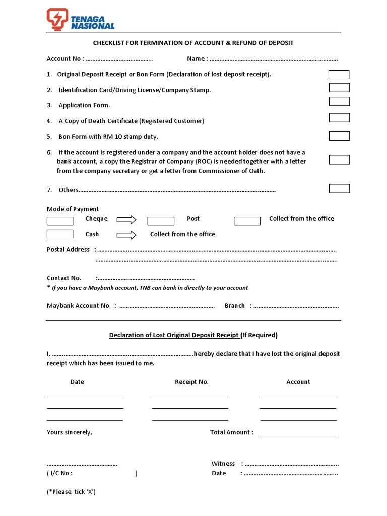 Borang Tnb Checklist Tutup Akaun Receipt Cheque