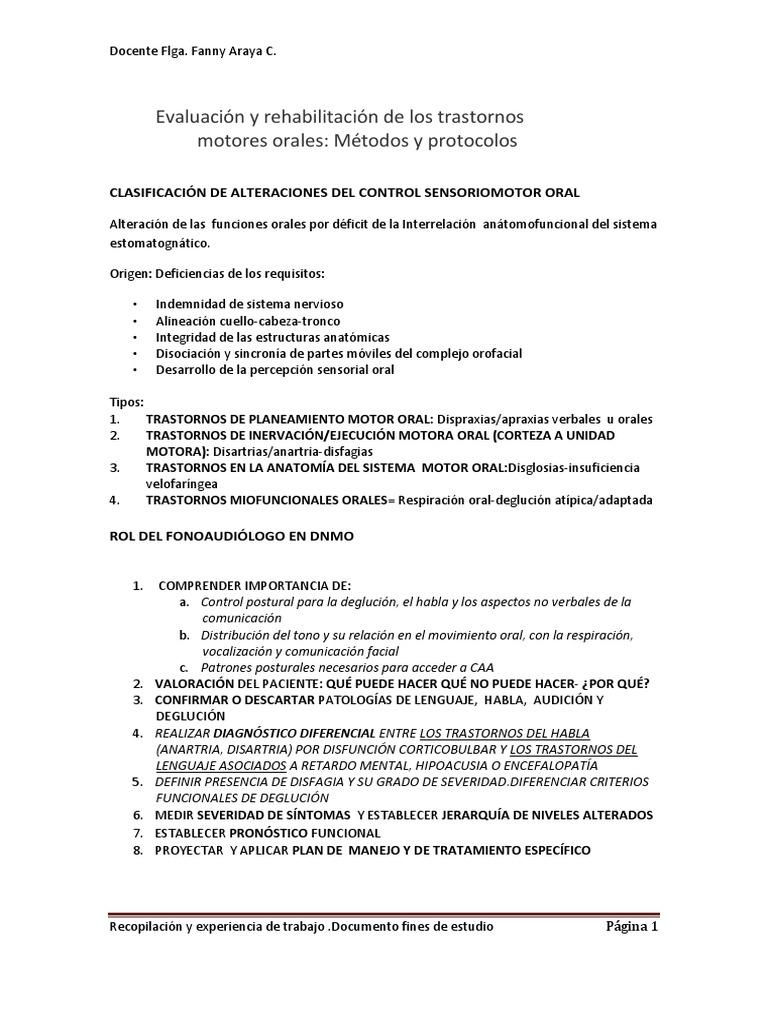 Evaluación y Rehabilitación de Los Trastornos Motores Orales (1)