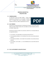 Memoria Descriptiva Arquitectura Puesto de Salud Carmen Alto