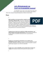 Cómo Conducir Eficientemente Un Automóvil Diesel Con Transmisión Manual