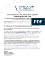 Ambulatory Alliances, LLC, Receives Second Acquisition International 2014 M&a Award
