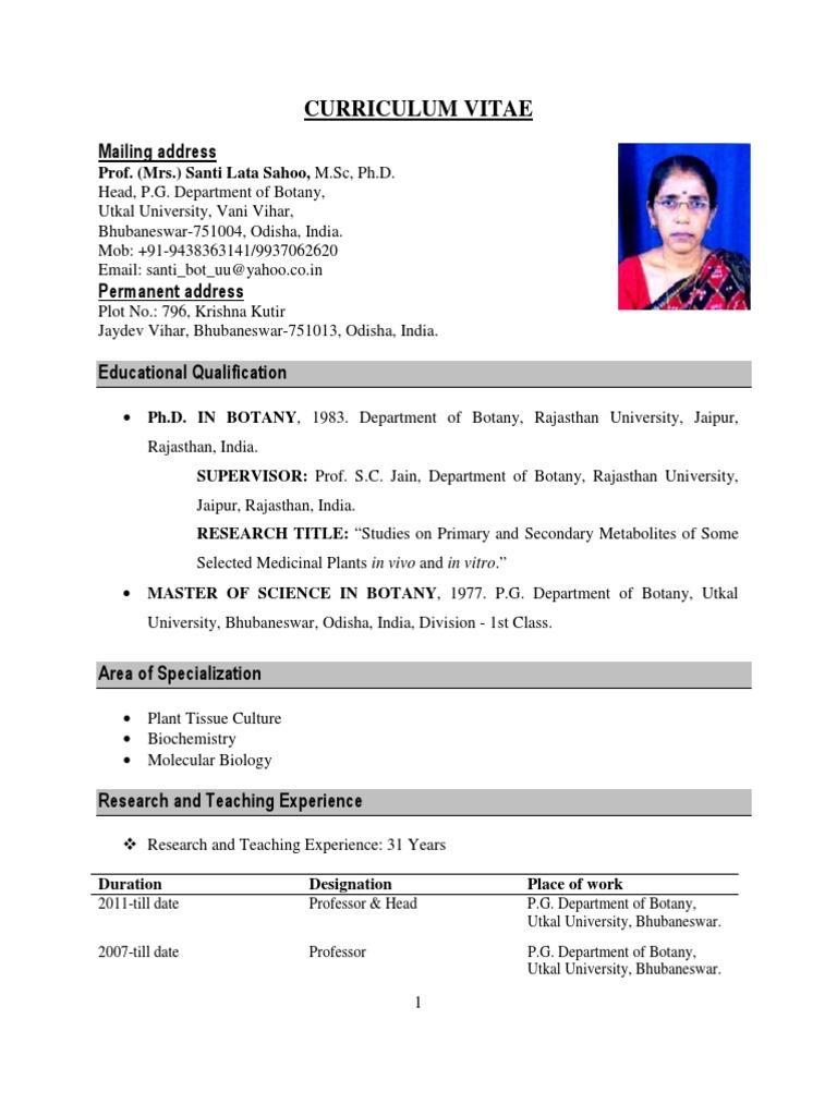 Biodata- Sl Sahoo   Postgraduate Education   Biology