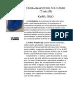 Cristalización Del Sulfato de Cobre