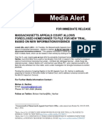 Media Alert - 7-5-14 MASSACHUSETTS APPEALS COURT ALLOWS FORECLOSED HOMEOWNER TO FILE FOR NEW TRIAL, BASED ON NEW INFORMATION/EVIDENCE