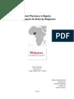 Retail Pharmacy in Nigeria -Walgreens Entry Strategy