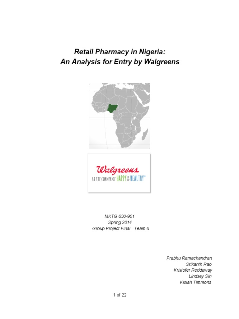 Retail Pharmacy in Nigeria -Walgreens Entry Strategy | Franchising ...