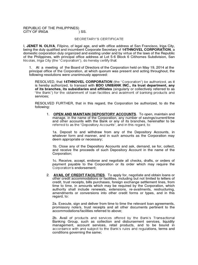 Secretarys Certificate Credit Finance Banks