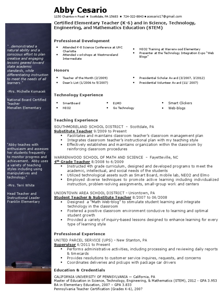 A Cesario Resume 2013 Science Technology Engineering And