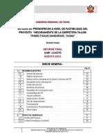 Estudio de Preinversion a Nivel de Factibilidad Del Proyecto Mejoramiento de La Carretera Ta-109 Tramo Ticaco-candarave, Tacna