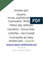 Contraseña y Usuario de Empleo.gob