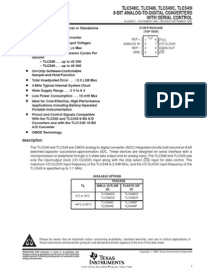 TLC548CP 8 Bit Analog to Digital Converter 1 Input 1 SAR 8-PDIP