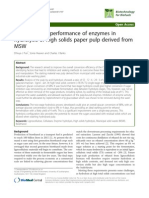 Improving the performance of enzymes in hydrolysis of high solids paper pulp derived from MSW