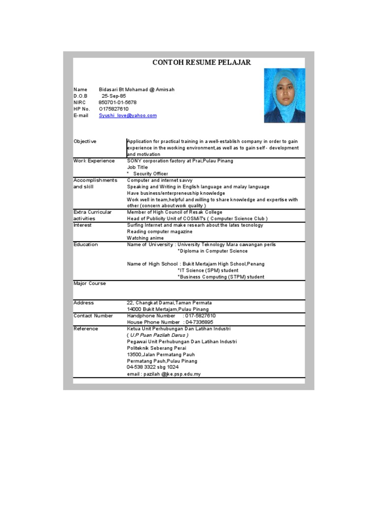 contoh resume pelajar - Contoh Resume Computer Science