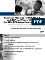 Business Planning in Sap Bw 3.5 and Sap Netweaver 2004S the Sem Bps Transition to Bw Bps