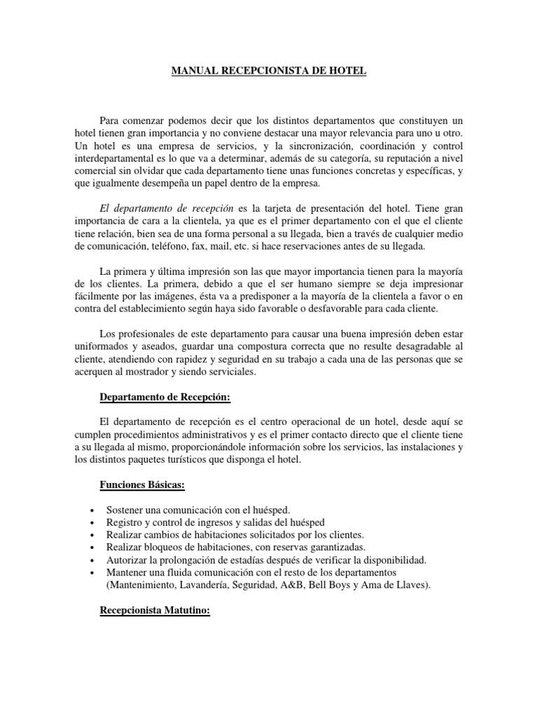 Atractivo Hotel Recepción Recepcionista Descripción Del Trabajo Para ...