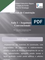 Materiais II - Aula 01 - Argamassas Convencionais