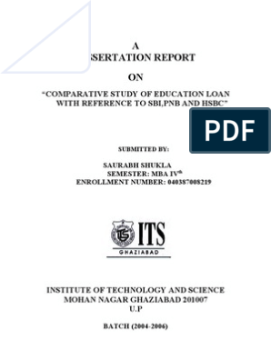 EDUCATION LOAN WITH REFERENCE TO SBI,PNB AND HSBC"
