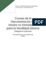 Causas de La Desvalorización de Modos No Motorizados Para La Movilidad Urbana